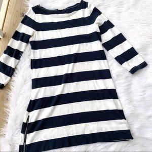 J. Crew Striped 3/4 Sleeve Mini Shift Dress
